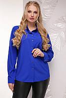 Блузка женская больших размеров,  цвет: электрик, размер: 52, 54, 56
