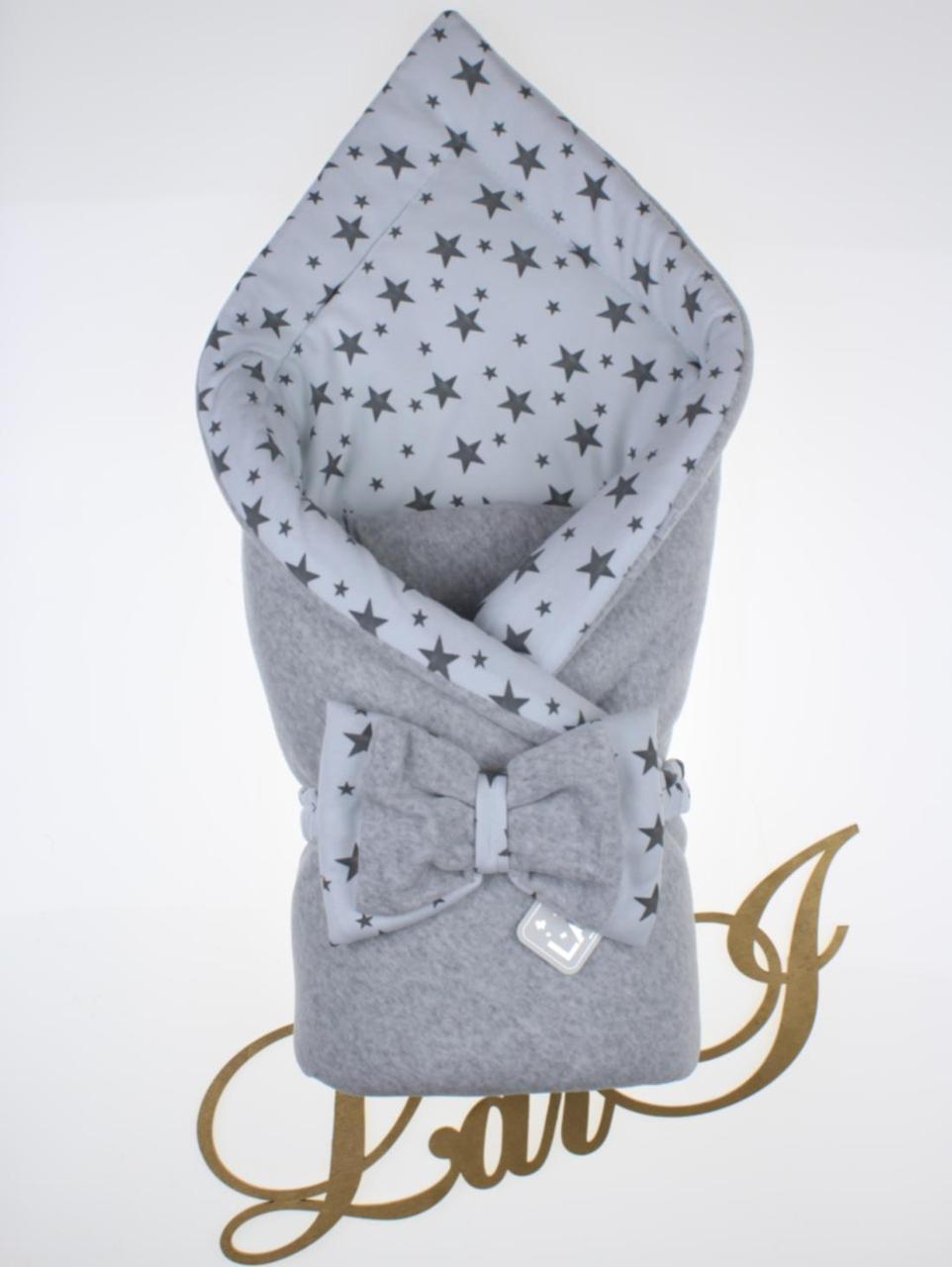 """Демисезонный велюровый конверт-одеяло """"Звездопад"""", серый меланж"""