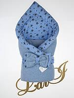 """Демисезонный конверт-одеяло """"Звездопад"""", велюр, голубой"""