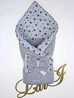 "Демисезонный конверт-одеяло ""Звездопад"", велюр, серый меланж"