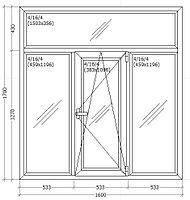 Окно металлопластиковое 1600*1700 мм