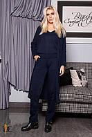 Спортивный костюм модный женский 2019 цвет: Тёмно-синий, размер: S-L
