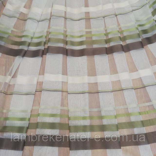 Тюль сетка фатин с полосой зеленой и коричневой