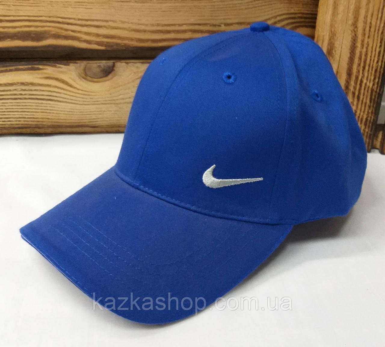 Мужская кепка синего цвета с вышивкой в стиле Nike (реплика), котоновая, с регулятором липучкой, 58 размер