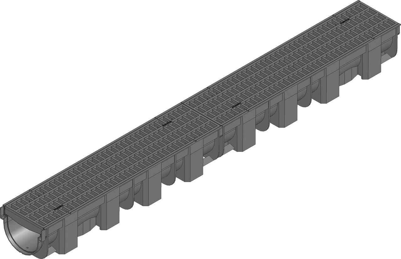 Лоток дренажный (119х89х1000) с пластиковой решёткой