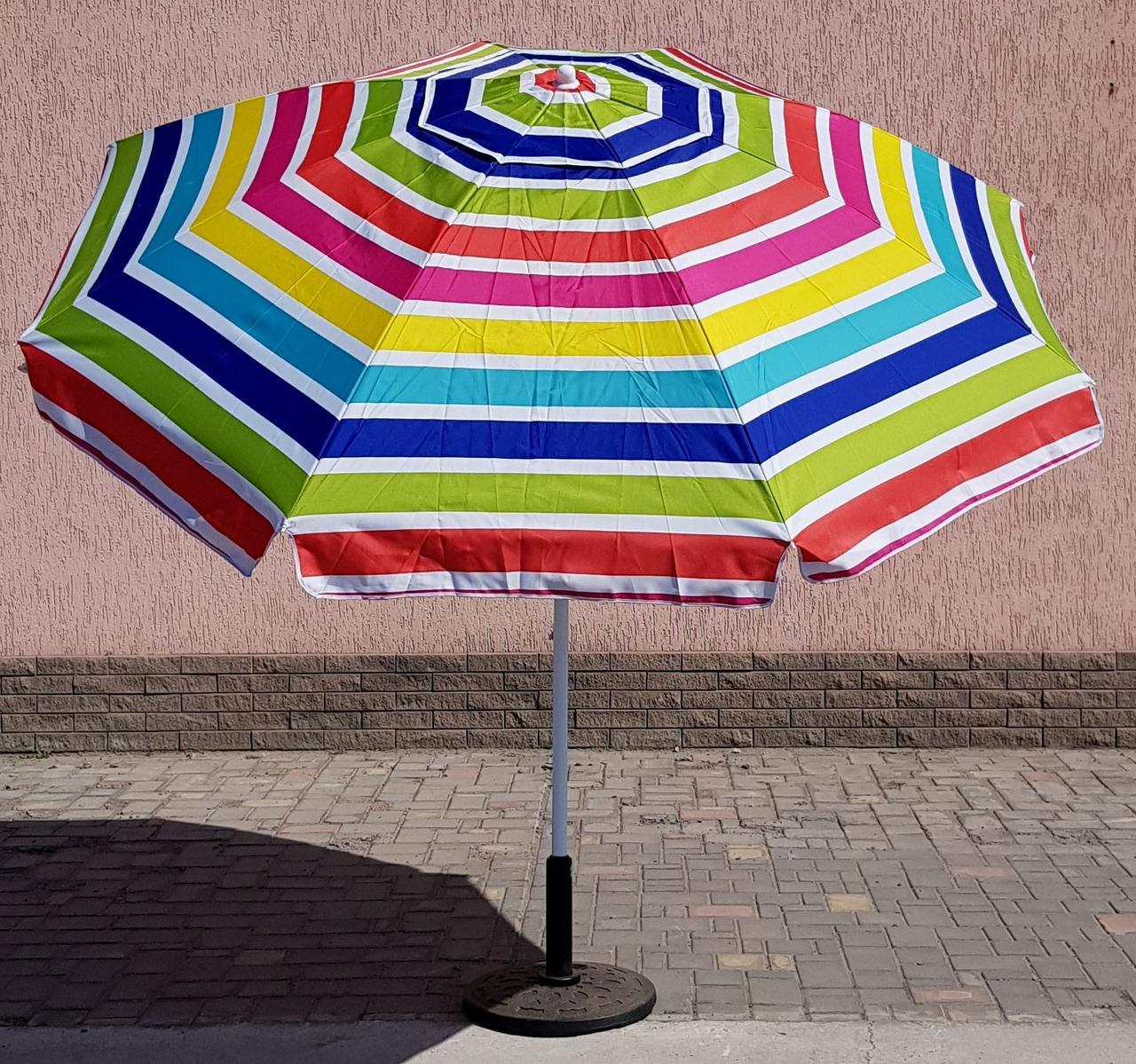 Зонт круглый полосатый, 2.4м, с наклоном, мод-025w