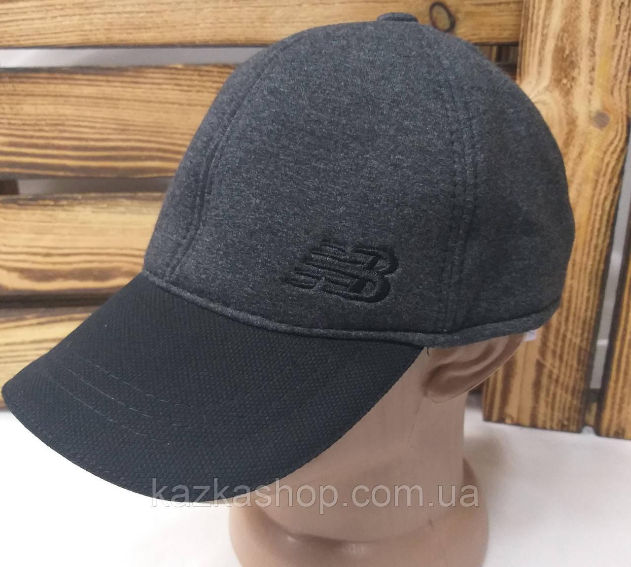 Мужская трикотажная кепка серого цвета с вышивкой New Balance на регуляторе, размеры в наличии S, M, L