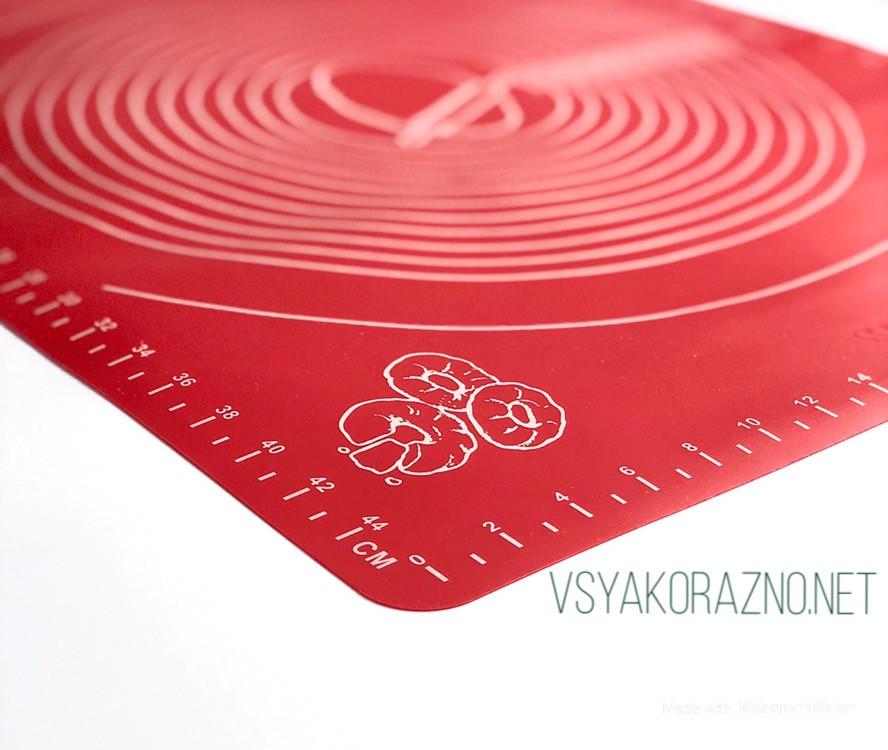 Силиконовый коврик для выпечки антипригарный, большой 62*42 (красный)