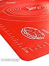 Силиконовый коврик для выпечки антипригарный, большой 62*42 (красный), фото 4