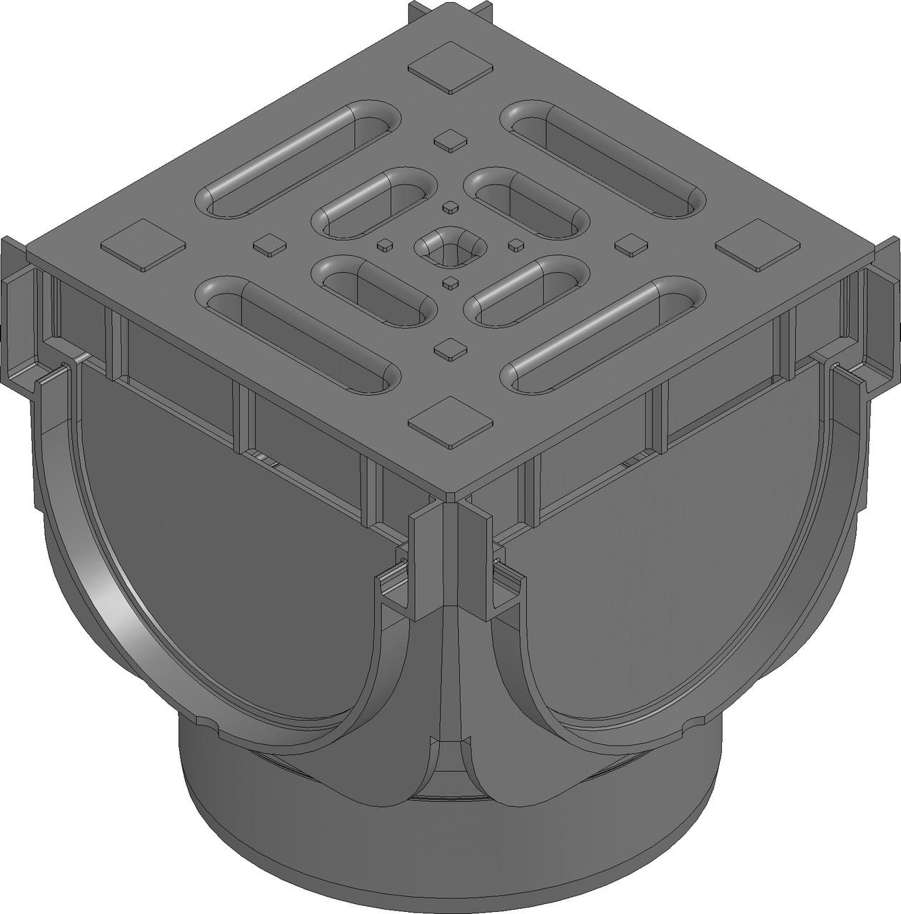 Угловой соединительный элемент для лотков с пластиковой решёткой. Цвет Чёрный