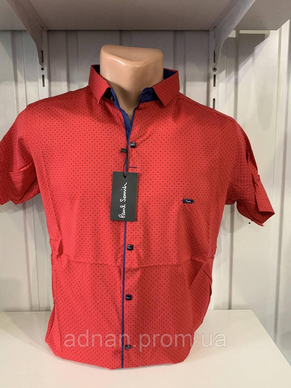 Рубашка мужская Paul Smith короткий рукав, стрейч, заклепки. №30.03 9 002  \ купить рубашку