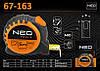 Рулетка с нейлоновой лентой 3м х 16мм., NEO 67-163
