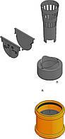 Комплект аксесуарів для лотка (заглушки, випуск, кошик, гідрозатвор). Колір Чорний
