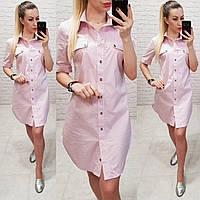 Новинка!!! Стильне плаття - сорочка, арт 827, колір рожевий точка, фото 1
