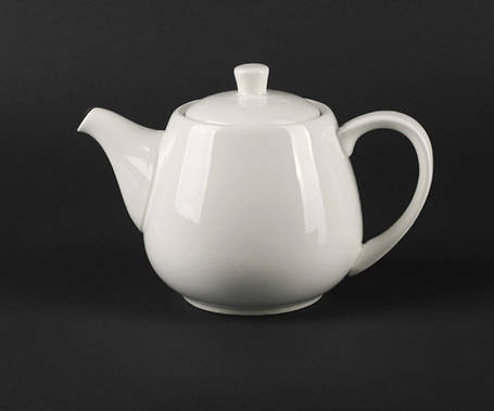 Чайник белый фарфоровый с крышкой Helios Extra white 900 мл (A7065), фото 2