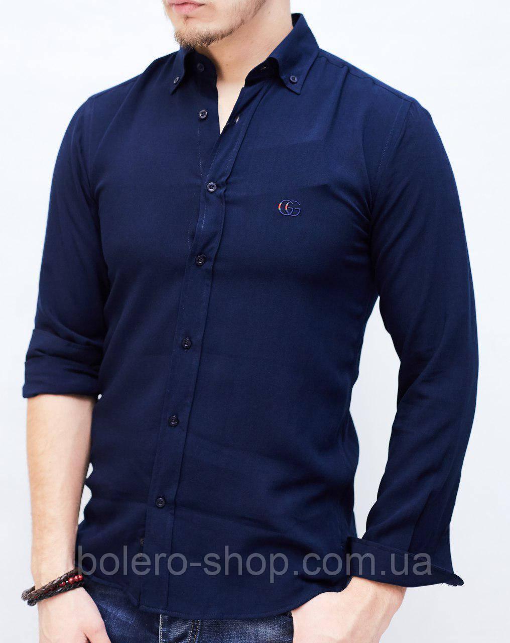 Рубашка мужская GUCCI темно-синяя