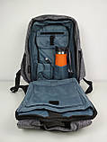 Рюкзак протикрадій великий з USB портом. Сірий, фото 2