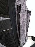 Рюкзак протикрадій великий з USB портом. Сірий, фото 4