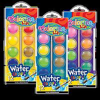 Краски акварельные с кисточкой большие таблетки насыщенные яркие цвета 12 цветов Corolino