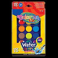 Краски акварельные  с 2 кисточками большие таблетки насыщенные яркие цвета 18 цветов Corolino