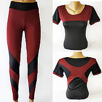 Стильні та зручні комплекти спортивного одягу для фітнесу. Бордовыйс чорним, фото 1