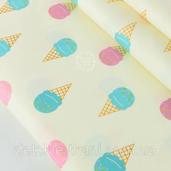 """Сатин ткань """"Мороженое рожок розовый и бирюзовый"""" на светлом фоне, № 2139с"""