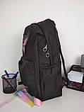 Рюкзак женский текстильный с бабочкой. Черный, фото 3