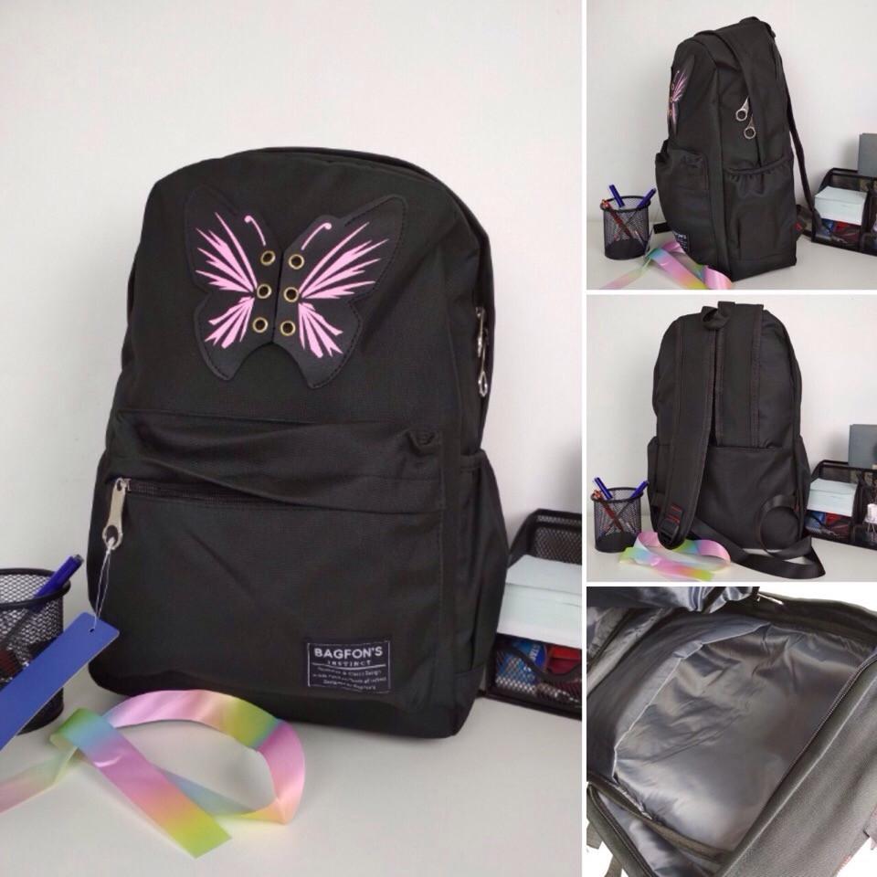 Рюкзак женский текстильный с бабочкой. Черный