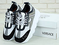 Кроссовки женские Versace Chain Reaction Sneakers Gray (Реплика ААА+), фото 1