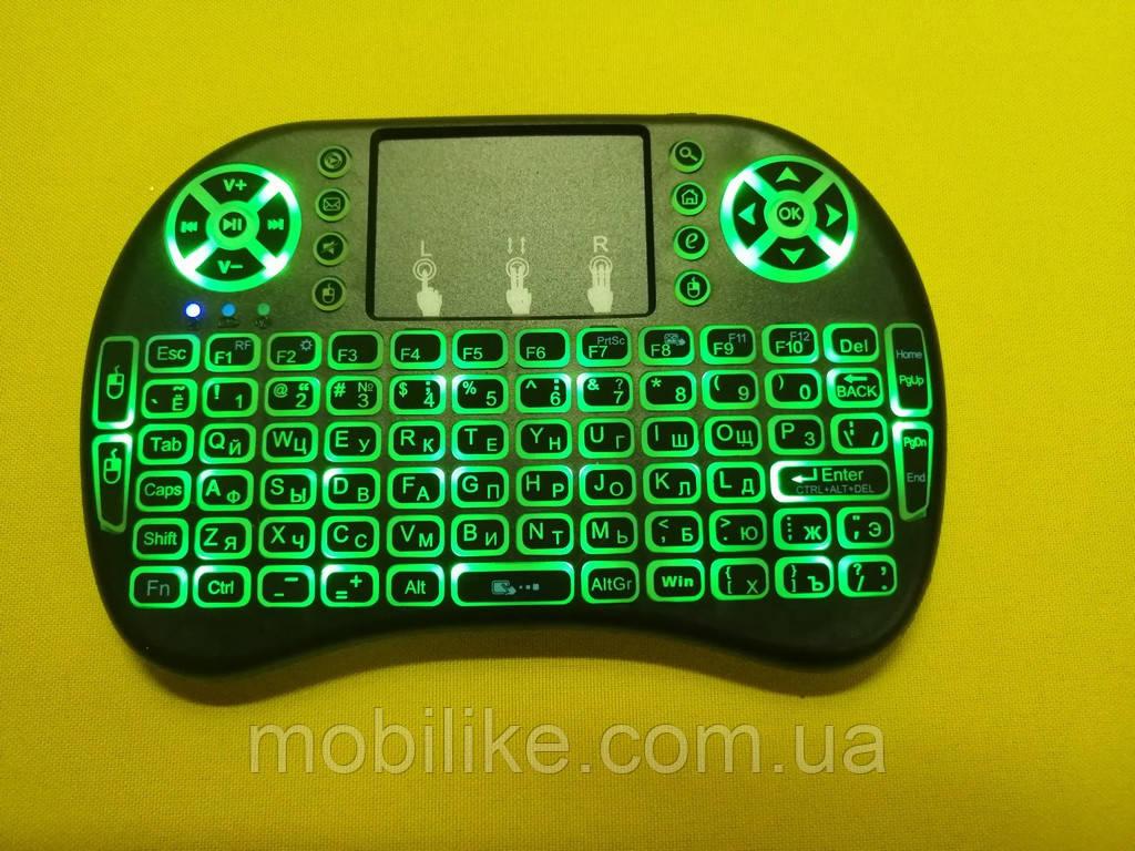 Беспроводная русская клавиатура с тачпадом UKC i8 (Green) 2.4G LED подсветка