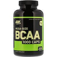 """Аминокислотный комплекс Optimum Nutrition """"Mega-Size BCAA 1000 Caps"""" цепь 2:1:1 (200 капсул)"""