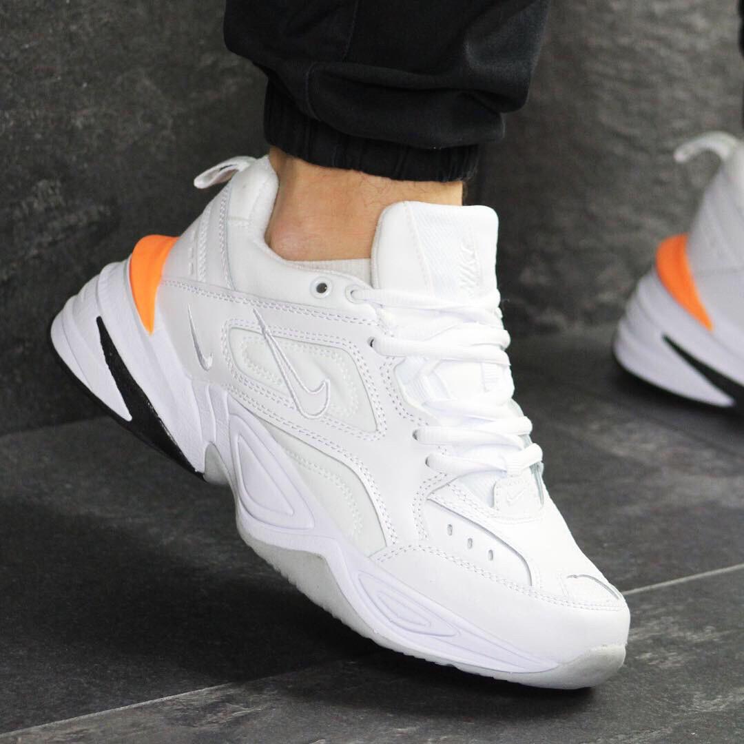 07720922 Кроссовки мужские 7590 Nike Белые с оранжевым демисезонные купить не дорого  - Интернет-магазин