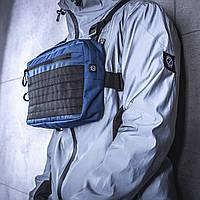 e328905b Нагруднаяя мужская сумка BEZET / Бананка / Поясная сумка / Барсетка (синяя)