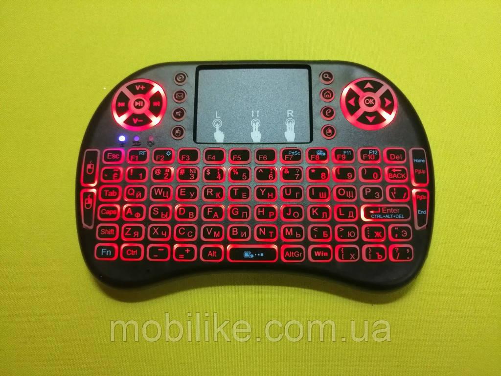 Беспроводная мини клавиатура с тачпадом UKC i8 (Red) 2.4G LED подсветка
