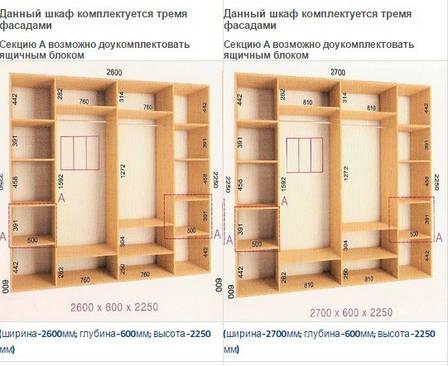 Шкафы-купе Ультра ( Глубина - 600 мм; высота - 2250мм), фото 2