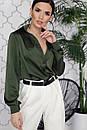 Шелковая однотонная блуза свободного покроя 16ru226, фото 2