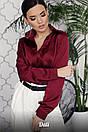 Шелковая однотонная блуза свободного покроя 16ru226, фото 3