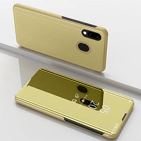 Чехол книжка для Samsung Galaxy M20 M205FD боковой с зеркальной крышкой, золотистый