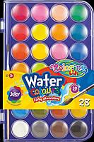 Краски акварельные Corolino с  кисточкой, большие таблетки , насыщенные, яркие цвета, 28 цветов
