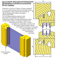 Комплект фрез Р6М5 для изготовления  евроокно 78 мм сборный 17 фрез на 10 блоков эконом