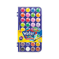 Краски Corolino  акварельные  с  кисточкой маленькие таблетки насыщенные, яркие цвета, 36 цветов
