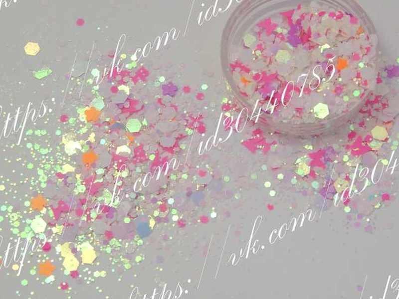 Камифубуки конфетті для дизайну нігтів білі