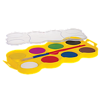 Краски акварельные  с кисточкой, таблетки JUMBO , насыщенные, яркие цвета, 8 цветов JUMBO Water colours