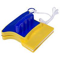 ✅ Двусторонняя щетка для мытья окон Double Side Glass Cleaner - 12 см., магнитный скребок для стекол