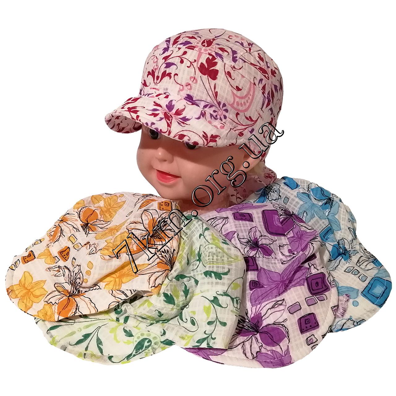"""Кепка детская для девочек """"Цветы"""" 1-2 года хлопок Оптом 7916"""