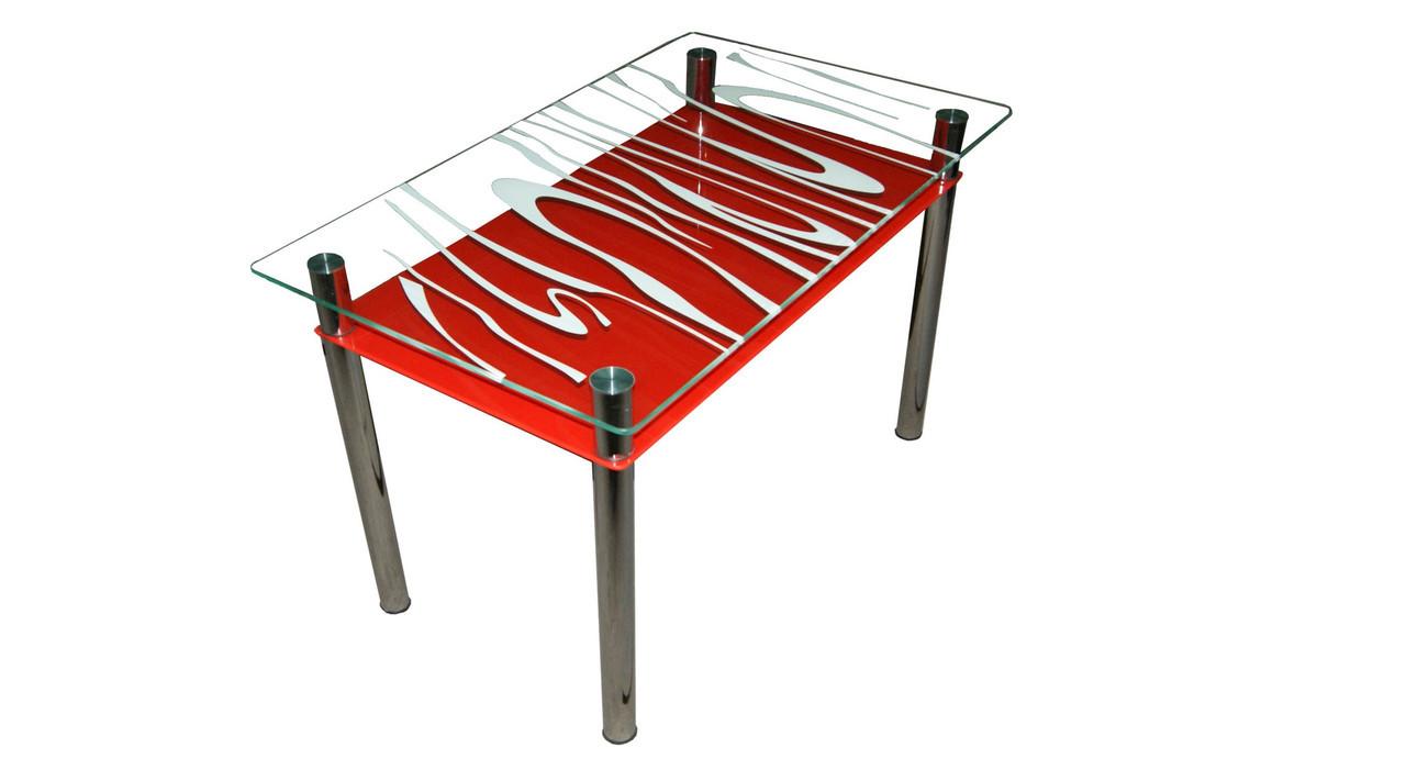 Стеклянный стол Восторг с красной полкой фабрики Сентензо