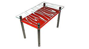 Стеклянный стол Восторг с красной полкой фабрики Сентензо, фото 2