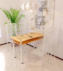 Бежевий скляний стіл Вінтаж з бузковими хвилями, фото 2