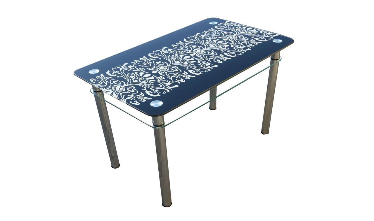 Синий стеклянный стол Орнамент