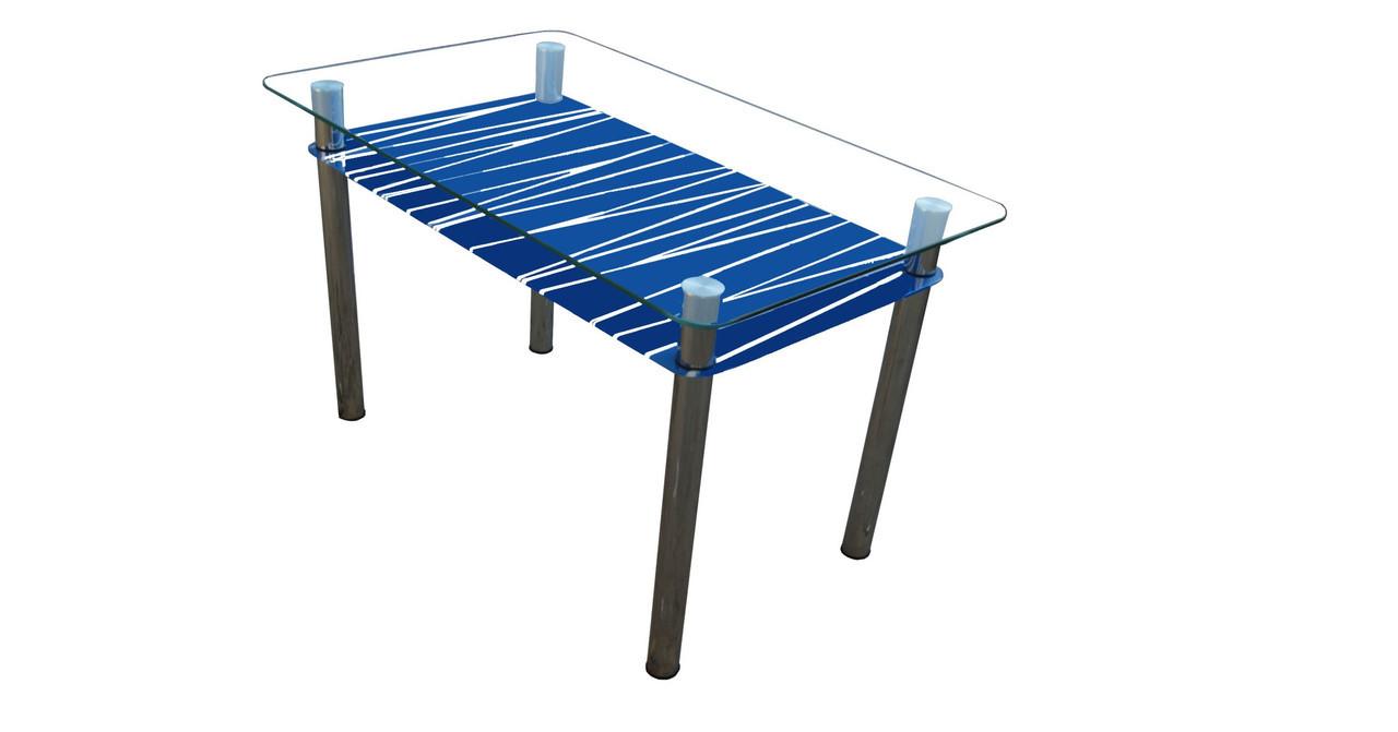 Стеклянный стол Зебра с рисунком на синей полке